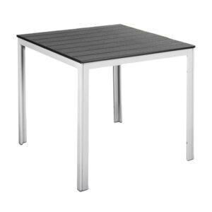 Tavolo quadrato acciaio bianco e poliwood grigio Stintino 78x78x74 cm