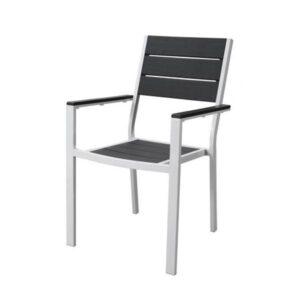 Sedia con braccioli acciaio bianco e poliwood grigio Stintino 58x85x88 cm