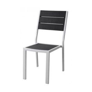 Sedia senza braccioli acciaio bianco e poliwood grigio Stintino 57x45x88 cm