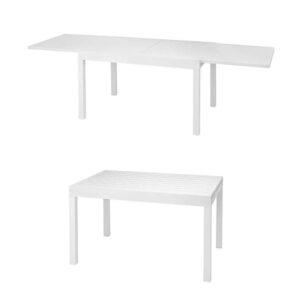 Tavolo estensibile alluminio ripiano bianco Cerboli 135/270x90x75 cm